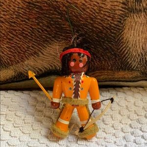 Native American Indian wooden Christmas ornament